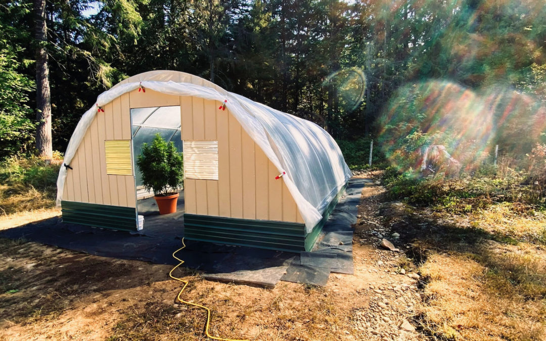Hoophouse Update - Still lots to do: cut away excess plastic, hang door, add trim around vents and door, add raised beds, spread gravel, etc. But it's to the point we can actually use it. Amazed.